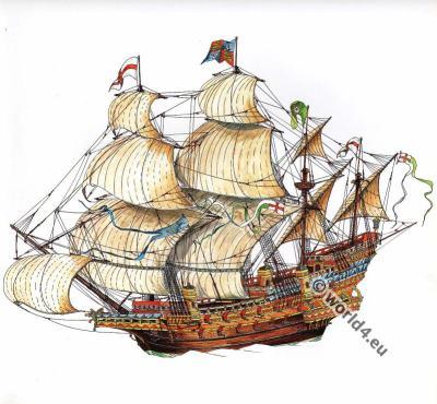 Elisabethan Galleon. 16th century. Tudor ship, Maritime