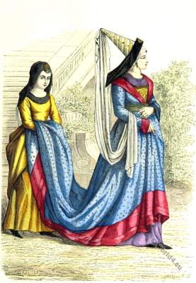 Medieval Bourgeois, servant costumes. 15th century clothing. Burgundy, gothic fashion era.