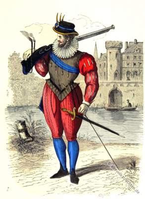 Musketeer clothing. 16th century costume military. Baroque era.
