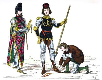 Prince, Squire and servant. Middle ages, Renaissance clothing 15th century.