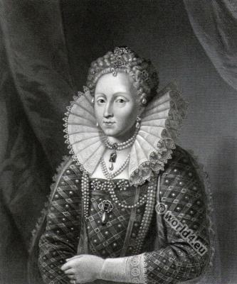 Queen Elisabeth the first, 16th century clothing. Tudor era costumes.