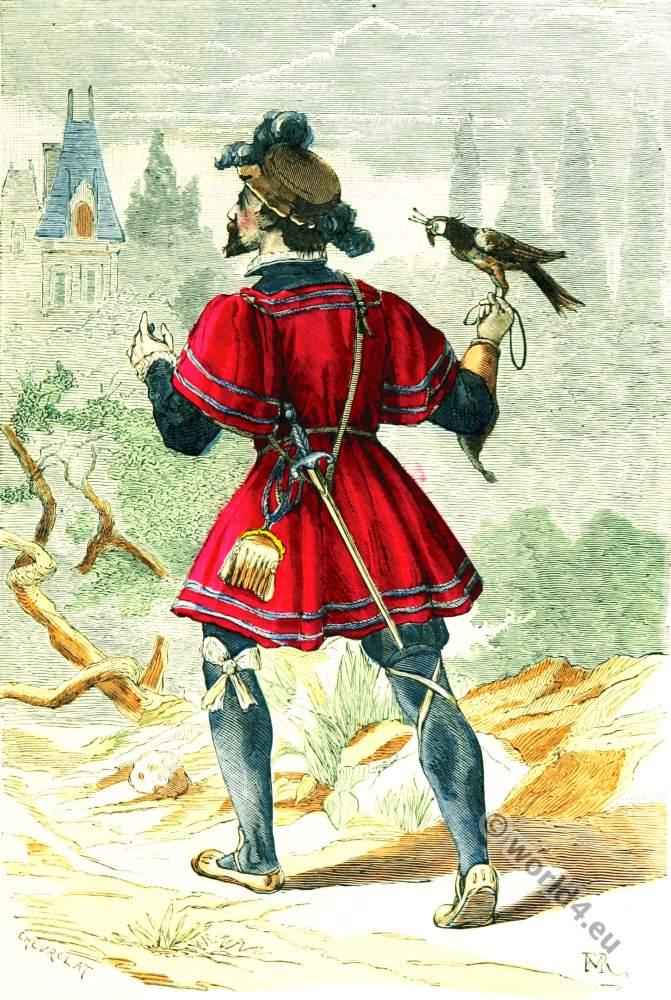 Falconer costume. 16th century. Renaissance era clothing.