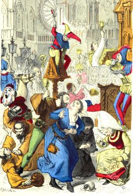 The Feast of Fools and dances of the Middle Ages. 14th century clothing. Middle ages dances. Gothic era fashion. fool dress.