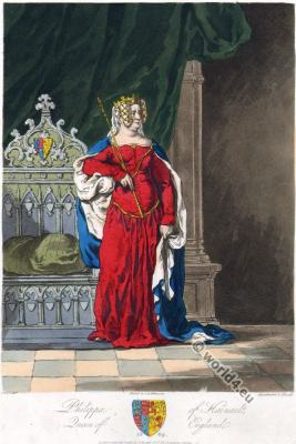 Philippa of Hainault. Middle ages Queen of England. 14th century costume