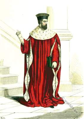 Parliament of Paris. First President. 16th century costume. Renaissance fashion