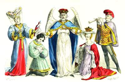 Renaissance Marriage. France 15th Century costumes.