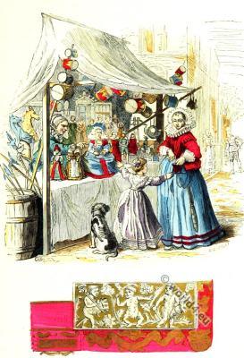 Children toys. Baroque era. 17th century costumes.