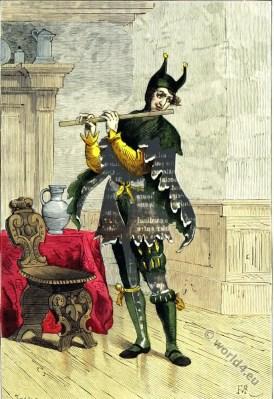 Court jester costume. 16th century fashion. Renaissance costumes