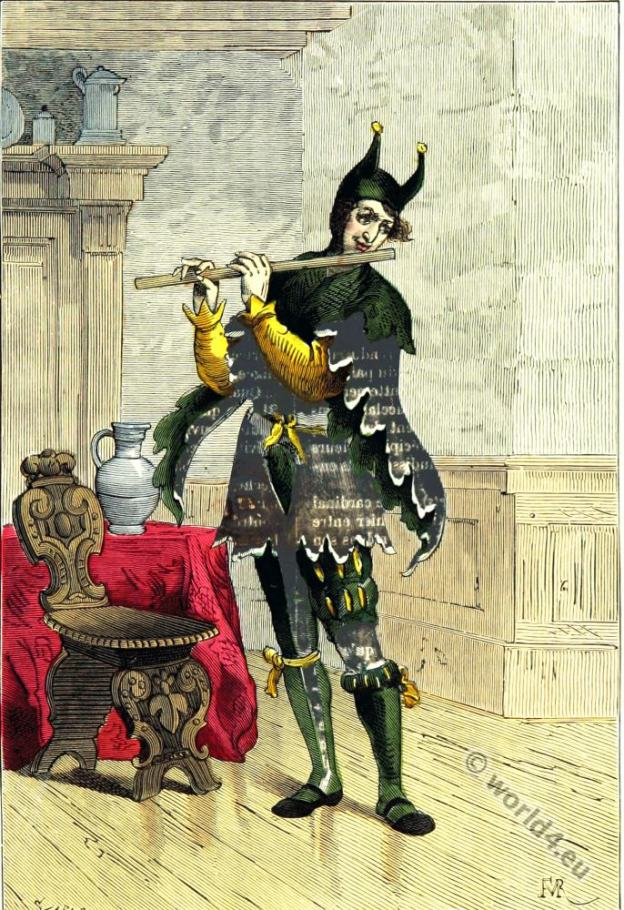 Court jester costume. 16th century fashion. Renaissance costumes