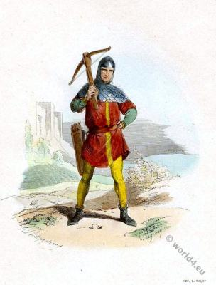 Crossbowman costume. Middle ages dresses. Gothic costumes. French military uniforms.