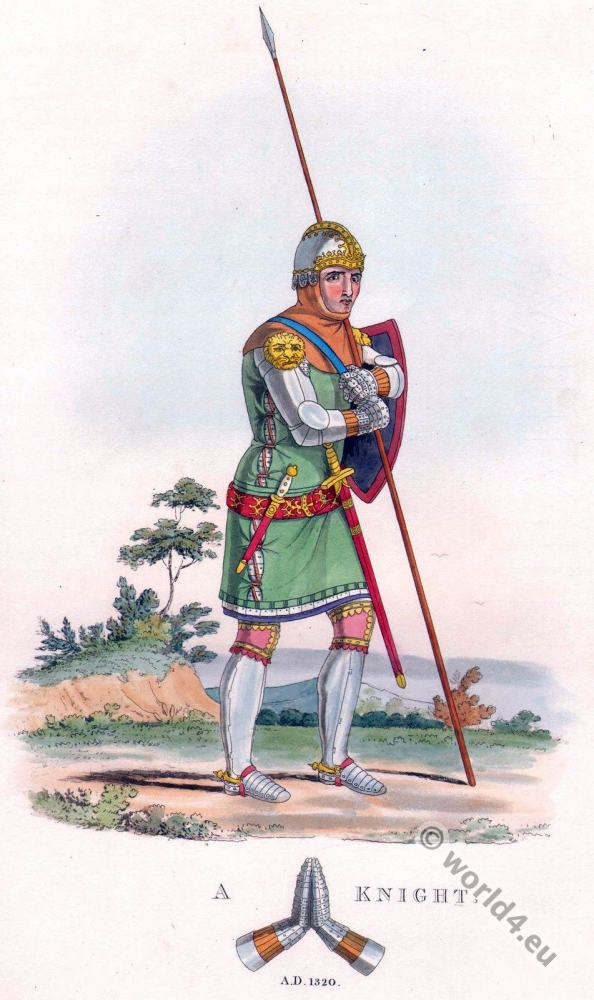 English knight costume. 14th century. middle ages soldier
