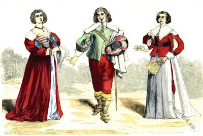 French Lord, Ladies costume. Sumptuary law. 17th century baroque fashion.