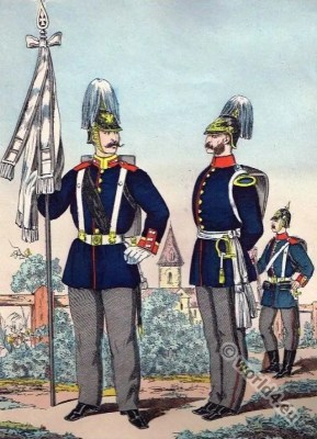 Prussian army officer uniforms. Franco-Prussian Armies. German  military uniforms