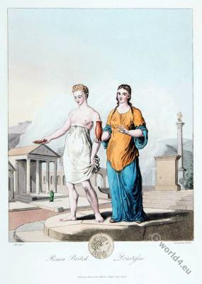 British priestesses costumes. Roman empire 3rd century. Celtic England era.