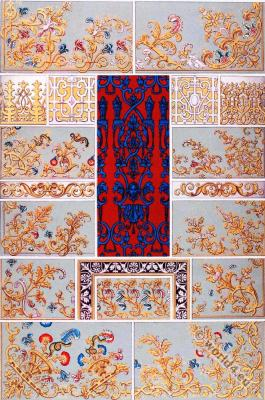 Flemish damascene, Embroidery Designs, 17th Century. Baroque fashion.