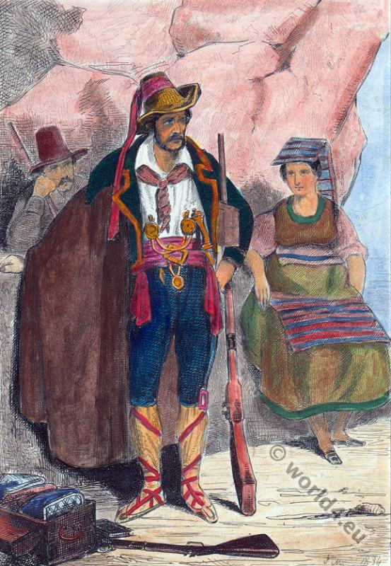Bandits, 1834. Italy folk dresses.