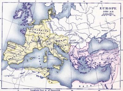 Barbarian migration maps. Barbarian Migrations history. Europe Apres l'Invasion de Barbares.