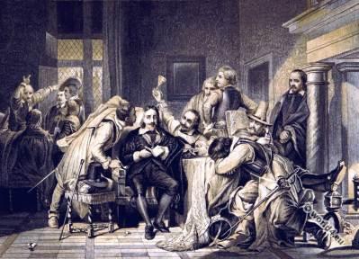 Charles I Trial. History of England. 17th century fashion. English Civil War