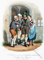Tyrolean national costumes. Austrian traditional fashion. Innsbruck folk dress.