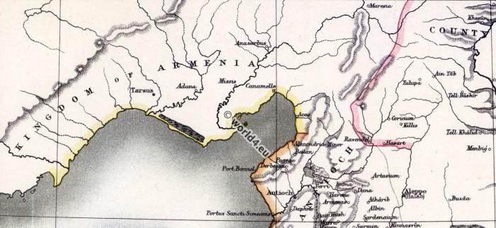 The crusades. principality of Antioch. Kingdom of Armenia. Map of Syria. Holy Land. 11th century.