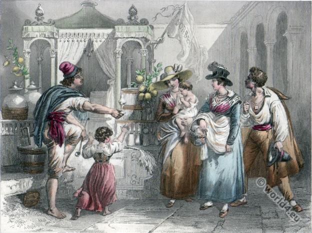 Florence costumes. Ice Salesman. Italy folk dresses 19th century.