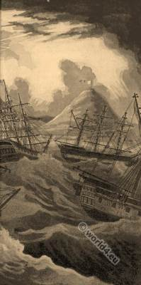 Sailing ships in storm. South Africa, Cape of Good Hope. 19th century history.