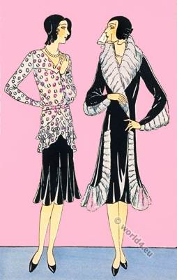 Germaine Lecomte. Fashion designer. Art deco costumes. Flapper fashion