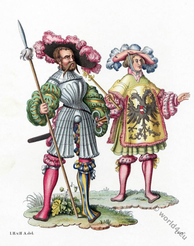 Herald, lansquenet costumes. 16th century costumes. Renaissance fashion.