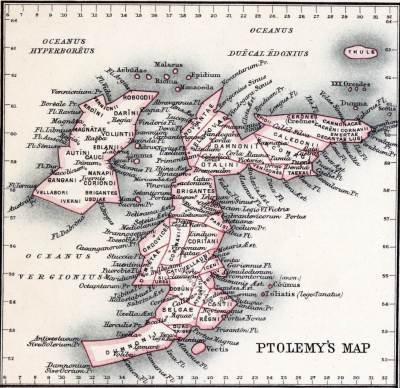 Ptolomey map. Roman Britain. Historical atlas. Roman empire.