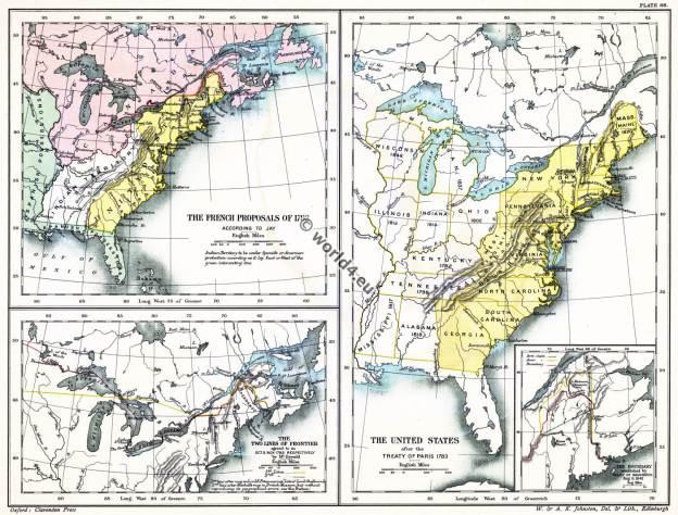 American, Revolutionary, War, USA, Paris, Treaty, map,