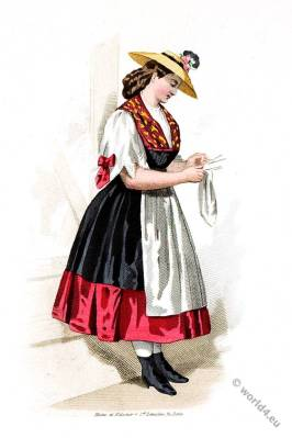 Traditional Swiss creamery costume. Switzerland, 19th century fashion.