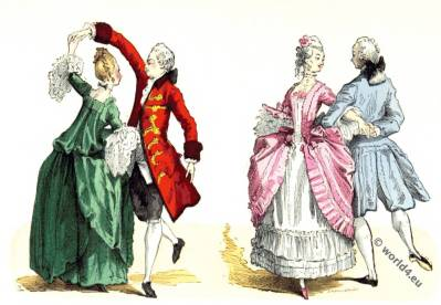 Ballroom dresses. Rococo fashion 18th century.