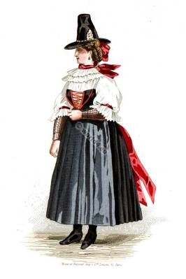 Traditional Carinthia woman dress. Austria national costume.