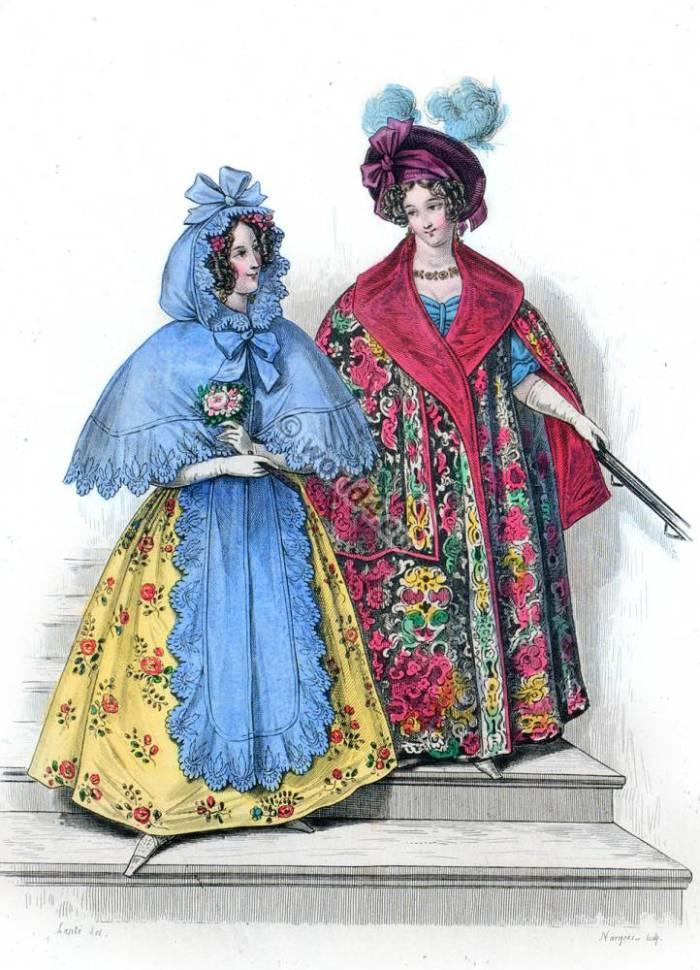 Cashmere silk mantle. Romantic fashion. Journal des dames. Costumes Parisiens.