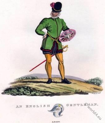 English Gentleman costume. 16th century fashion. Shield and sword. Tudor fashion.