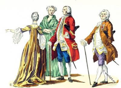 Paris fashion. Rococo fashion. 18th century costumes