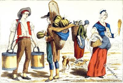 Parisian costumes. 18th century fashion. Water carrier. Merchant of melons. Ragpicker. Merchant of sweets.