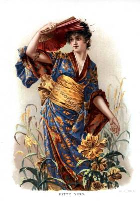 Pitty Sing. Pitty-Sing. Victorian opera character. Traditional Japanese Clothing, Kimono,