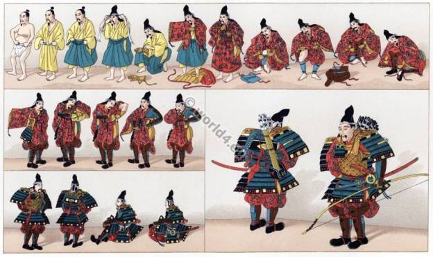 Japanese Warriors, Samurai, Plate Armor, Vibrant Undergarment, Longbow, Swordsman, Traditional Process of Donning Armor