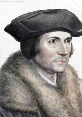 Sir Thomas More, Hans Holbein the Younger. Tudor era. Renaissance fashion.