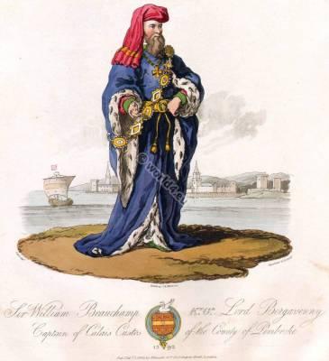Sir William Beauchamp. 14th century costume. England history.