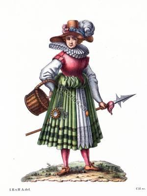 Sutler costume. victualer, civilian merchant 16th century. Baroque fashion.