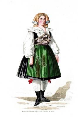 Traditional Carinthia national costume.Carinthian Brewery. Austria folk dress.