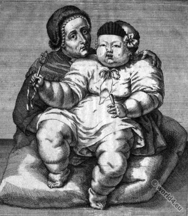 German mother. Monstrous child. 18th century child dress.