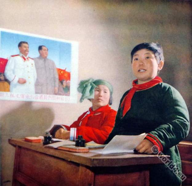 Olunchun ethnic group. School boy costume. China Communism. Chinese propaganda picture.