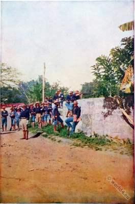 U.S Army soldiers. Skirmish Philippine islands. Military uniforms. Philippine–American War. American colonialism.