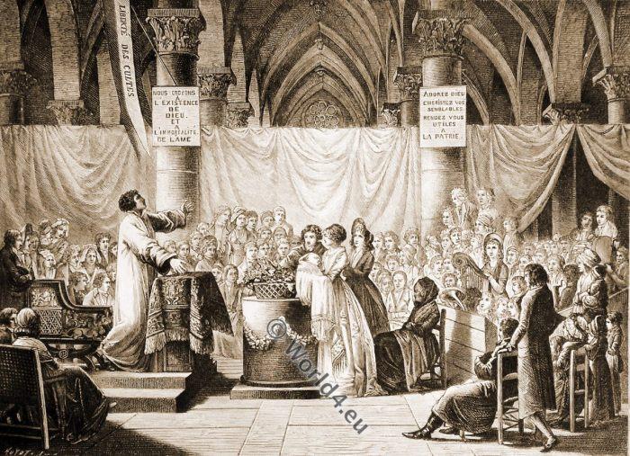 Celebration, baptism, Directory, french, revolution, history, costumes