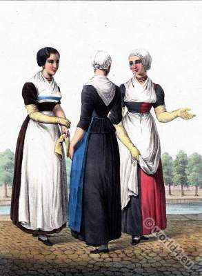 Dutch Orphaned Lutheran costumes, Reformed Catholic, Traditional Dutch costumes, Hendrik Greeven, Théodore Ferdinand Vallon de Villeneuve,