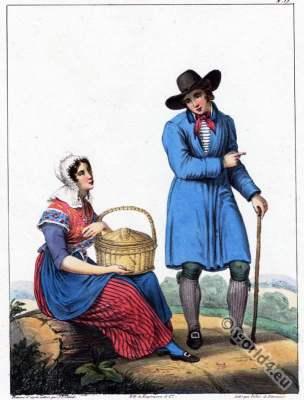 Traditional Dutch costumes, Hertogenbosch. Hendrik Greeven. Théodore Ferdinand Vallon de Villeneuve.