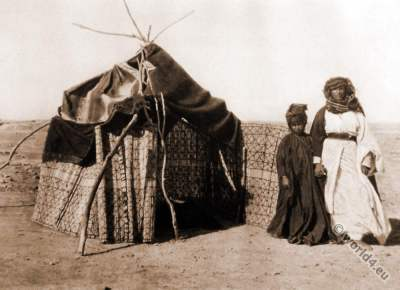 Arab Fellahin costumes. Marriage Hut. Photogravure. Picturesque Palestine. Karl Grober